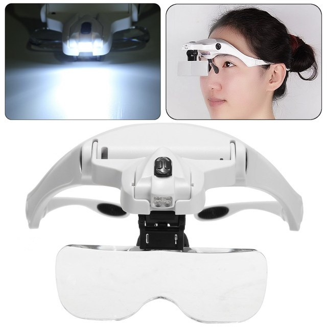 5 Lens Adjustable Loupe Headband Magnifying Glass Magnifier With ...