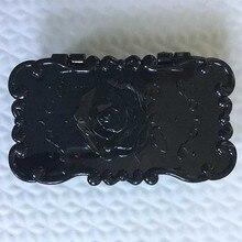 5Pcs fashion Eco-friendly Rectangle Black Rose Flower Eyelash Storage Box Makeup Cosmetic Mirror Case Organizer