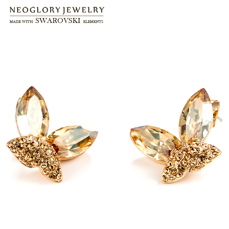 Neoglory Austria Crystal & Auden Rhinestone Stud Earrings Romantic Butterfly Shaped S925 Silver Plated Needles For Lady Party rhinestone heart shaped stud earrings page 4