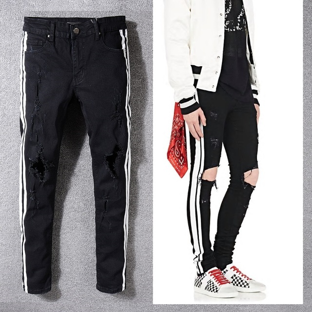 035451bab18b New Italy Style #5331# Men's Distressed Hollow Out Pants Black Mix White Side  Stripe Denim Skinny Jeans Slim Trousers Size 28-40