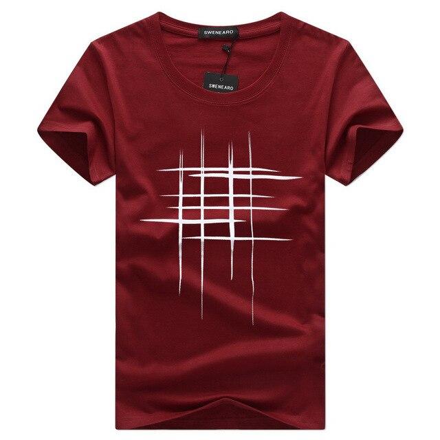 Просто Креативный дизайн линии крест печати хлопок футболки Для мужчин; Новое поступление Летний стиль короткий рукав Для мужчин футболка