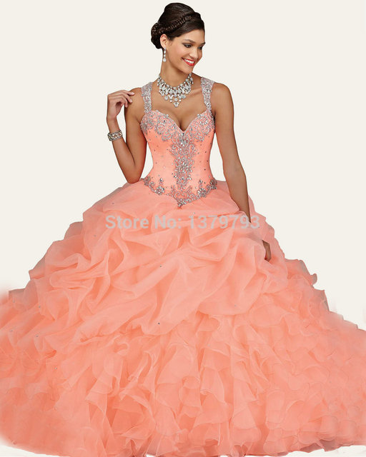d1361794b26 Gorgeous Beaded Straps Sweetheart Organza Layered Coral Mint Quinceanera  Dress Ball Gown Girl Sweet 16 Dress