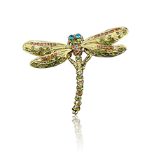 цена на Crystal Vintage Dragonfly Brooches for Women Large Insect Brooch Pin Fashion Dress Coat Accessories Cute Jewelry