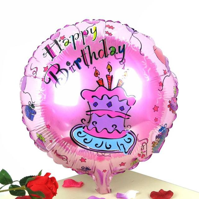 18 Inch HAPPY BIRTHDAY Cake Foil Balloon Lovely Round Mylar Balloons For Kids Birthday Party Decoration