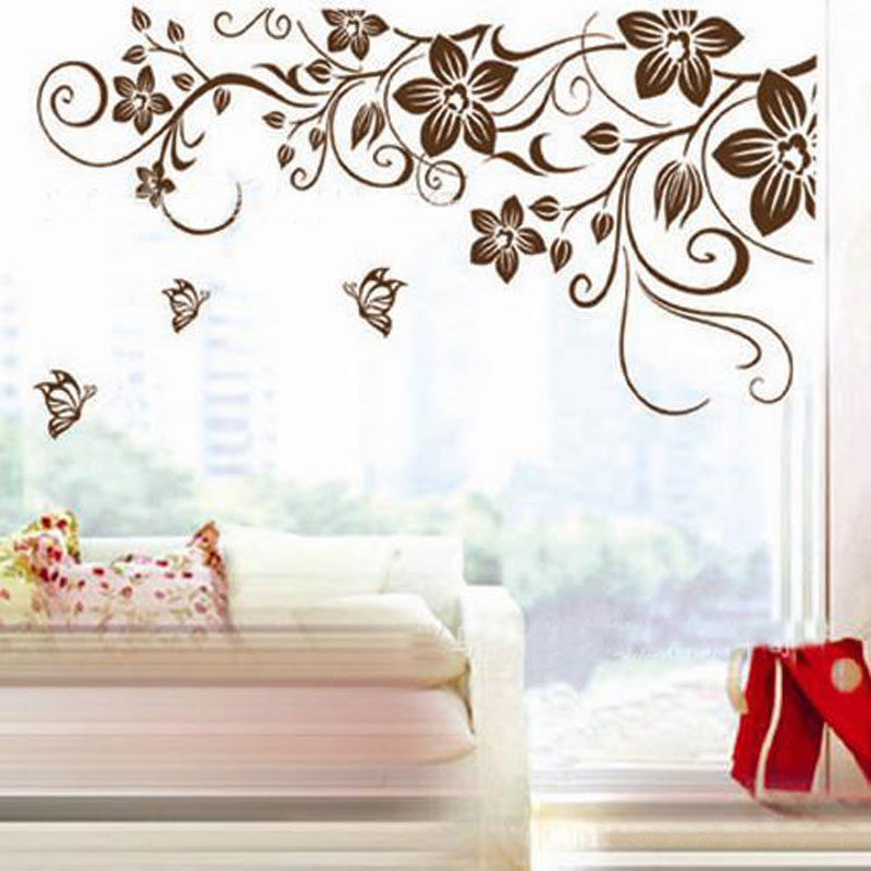 Charmant Wall Decals Flowers And Butterflies Wall Stickers Flowers