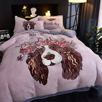Coral Duvet Covers | NEW Fashion Farayon Bedding Set Four-piece Set Sheet Quilt Cover Pillow Case Lovers Cartoon Leisure  Coral Velvet