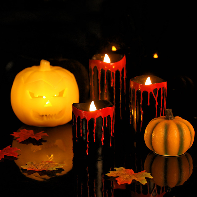 Giveu Black Bleeding Halloween Candleskeeping Bright  Hours Auto Timerbattery Operated