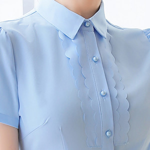 Image 5 - Elegant Women Shirt 2019 New Summer Short Sleeve Slim Bow Tie Chiffon Blouse Office Ladies Formal Work Temperament Tops