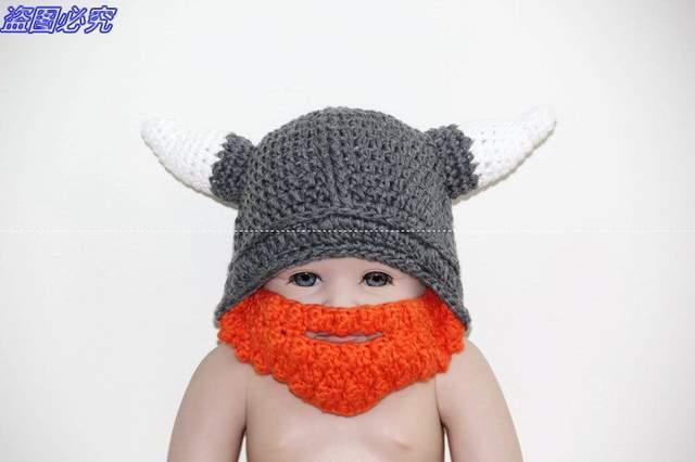449815818 Crochet Viking Helmet Hat with Beard / Viking Helmet Crochet , Dwarf Hat ,  Dwarf , Viking hat with horns,baby pirates hat