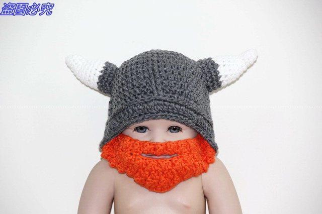 Tienda Online Crochet casco vikingo sombrero con barba/vikingo casco ...