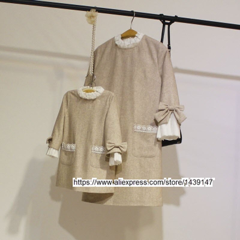Spring Autumn child kid clothing Family Bottoming clothes Light beige dress for Mom girls Lady Woman cuff big Bow butterfly Knot все цены