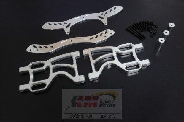 Baja 5B Rear double shock bracket set sliver/orange color 66073 baja metal beadlock ring set 8pc 4pc inner 4pc outer sliver color