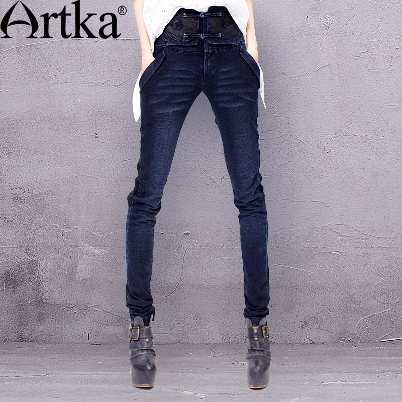 ФОТО Artka Women's Spring Oriental Frog Buttons Embroidery Stretchy Waistband Knitting Skinny Jeans KN19929D