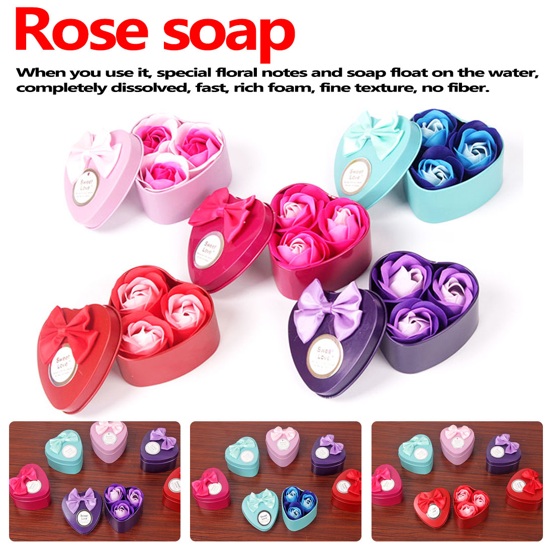 Small Gift Box 3Pcs Artificial Flower Rose Soap Flower Heart-Shaped Iron Box Scented Bath Body Petal Rose