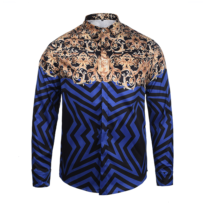 Printed Men Dress Shirt Splashed Paint Pattern Printed 3D Shirt Slim Fit Male Long Sleeve Shirts chemise homme Plus Size9011