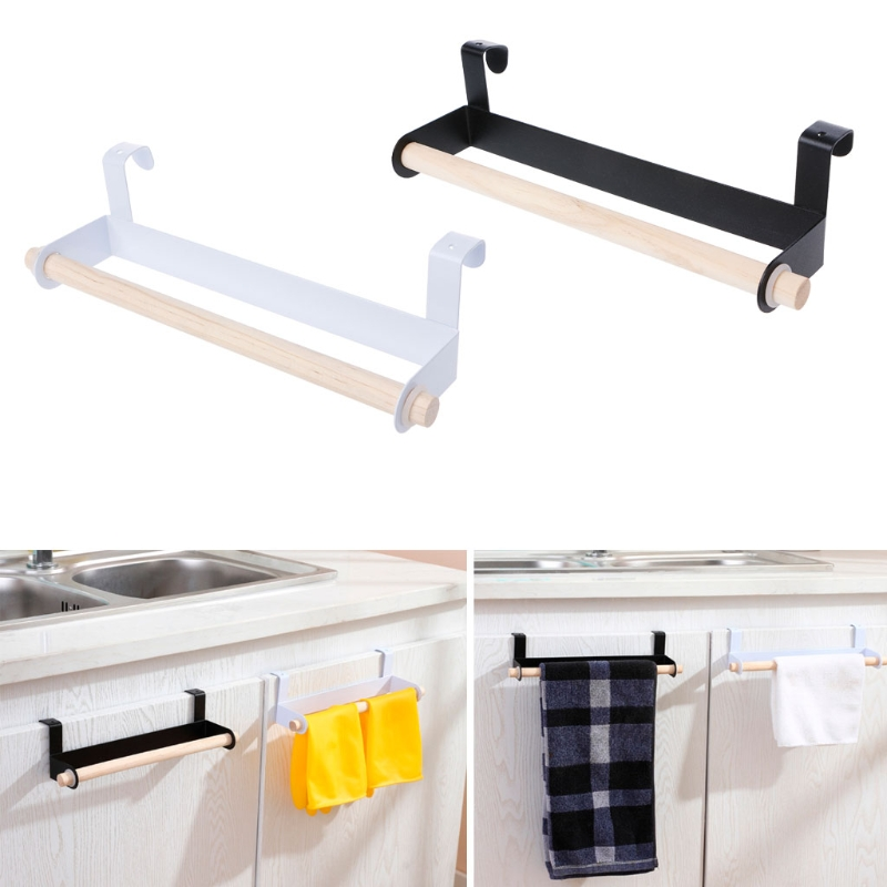 New Arrivials Kitchen Towel Holder Roll Paper Storage Rack Tissue Hanger Under Cabinet Door Bathroom Hardware Home Improvement