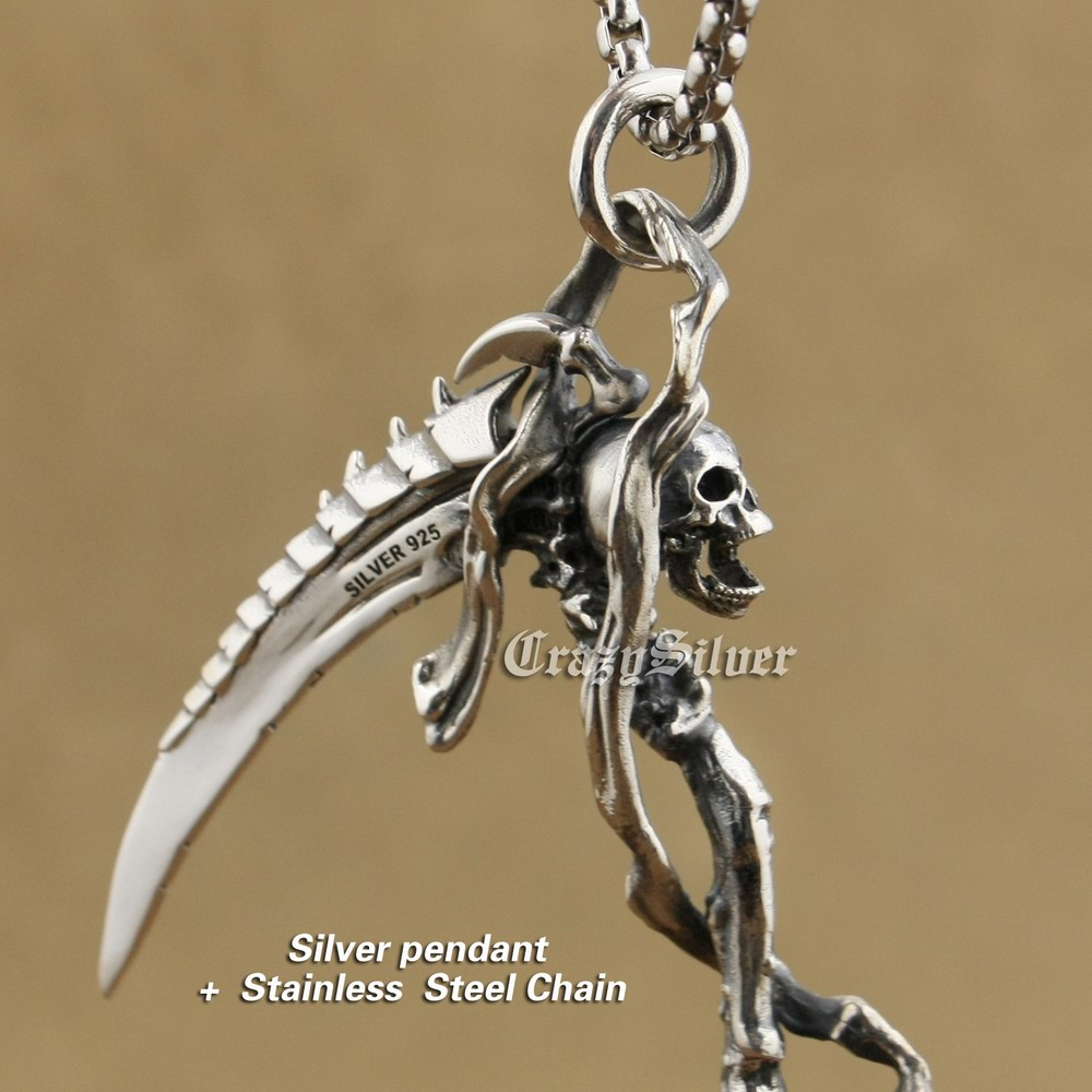 Huge 925 Sterling Silver Grim Reaper Skull Sickle Scythe Biker Pendant TA22A