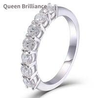 Queen Brilliance 0 7 CTW Lab Grown Moissanite Diamond Half Eternity Wedding Band 925 Sterling Silver