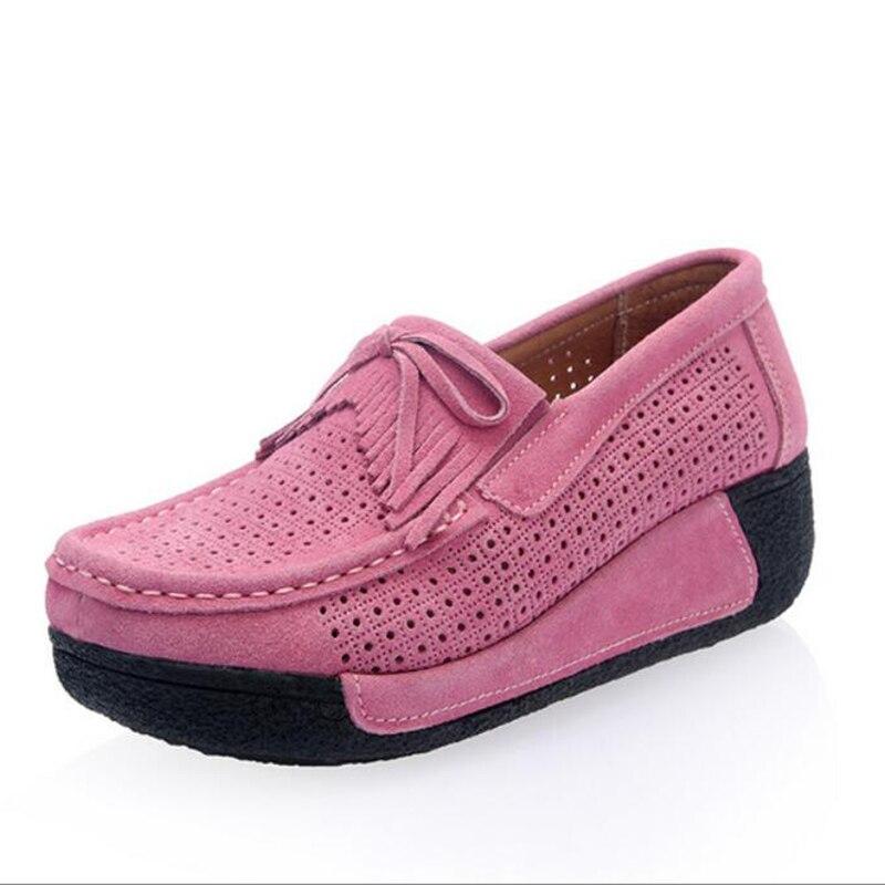 Pisos de Las Mujeres Zapatos de Verano Plataforma Mocasín Zapatos Vaca Suede Cas