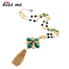 KISS ME Unique long Beads Chain Green Flower Pendant Necklace Gold Color Tassel Necklace 2017 Brand Jewelry