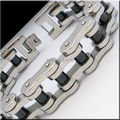 New Fashion 316L Stainless Steel Jewelry Black Silver Bicycle Motorcycle Chain Bracelet For Mens Bracelets & Bangles