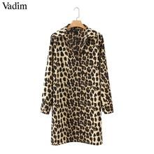 Vadim women Leopard V neck dress animal skin pattern chic long sleeve retro vintage casual straight dresses vestidos QA599