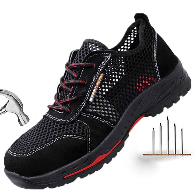 Summer Men Safety Shoes Men's Breathable Lightweight Anti-smashing Piercing Work Sandals Mesh Steel Toe Sneakers Man Work Shoes