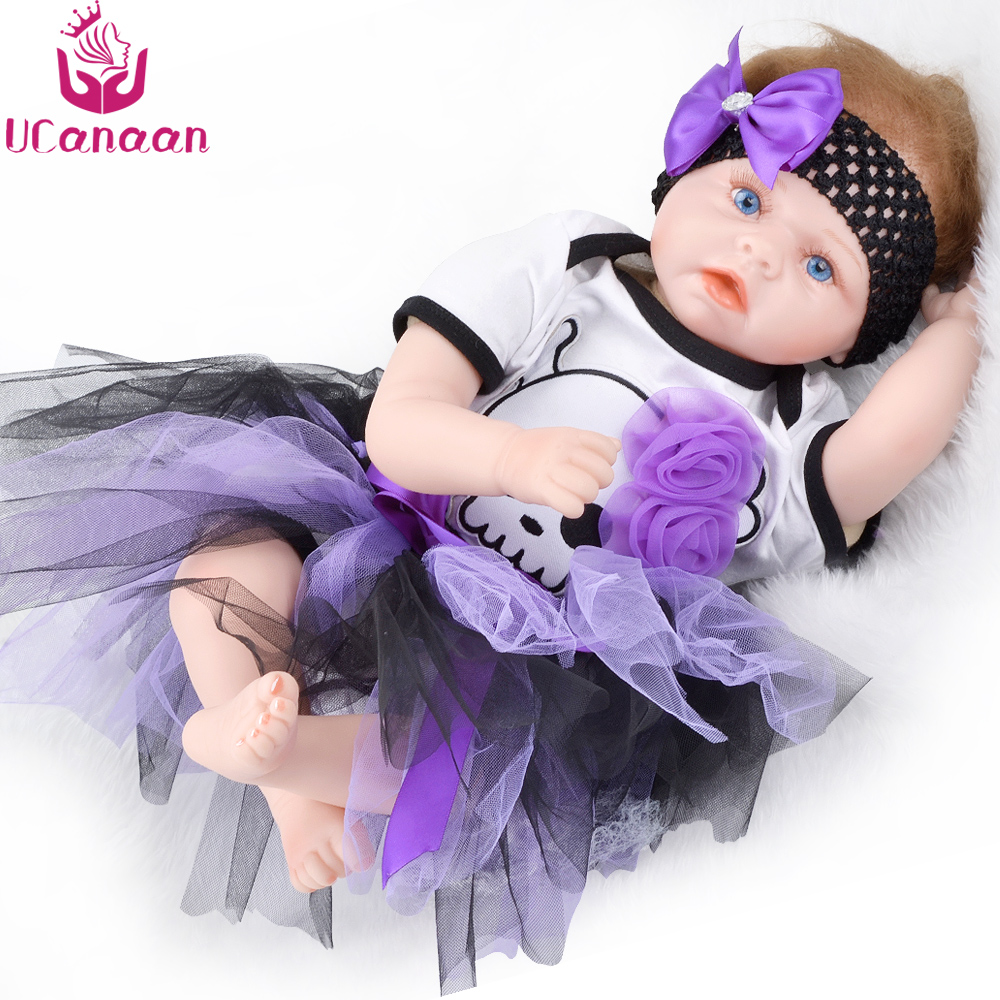 UCanaan Doll Reborn 55CM Silicone Realistic Baby Born Dolls Princess Cloth Body New Born Babies Toys For Girls COLLECTION ucanaan 1 3 bjd sd doll beauty and the beast girls dolls with outfit dress wig makeup princess doll for children new year gifts