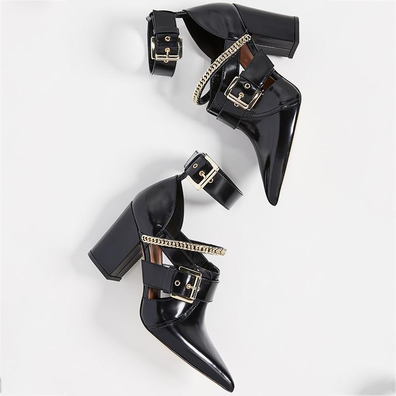 Белые ботильоны с ремешком и пряжкой; женская летняя обувь в стиле панк с цепочкой на высоком массивном каблуке с острым носком; модные ботинки; большие размеры 15 16 - 4
