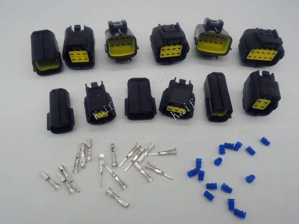 6Sets Kit Brand 2/3/4/6/8/10 Pin Way Waterproof Wire Connector Plug Car Auto Sealed Electrical Set Car Truck connectors brand new high quality 4 way pin 6 3mm car electrical terminal block multi connector plug socket kit