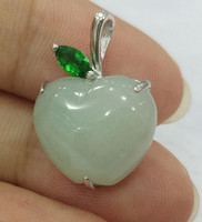 Exquisite jewelry natural 925 silver stone sculpture apple style fashionable charm female pendant necklace/1