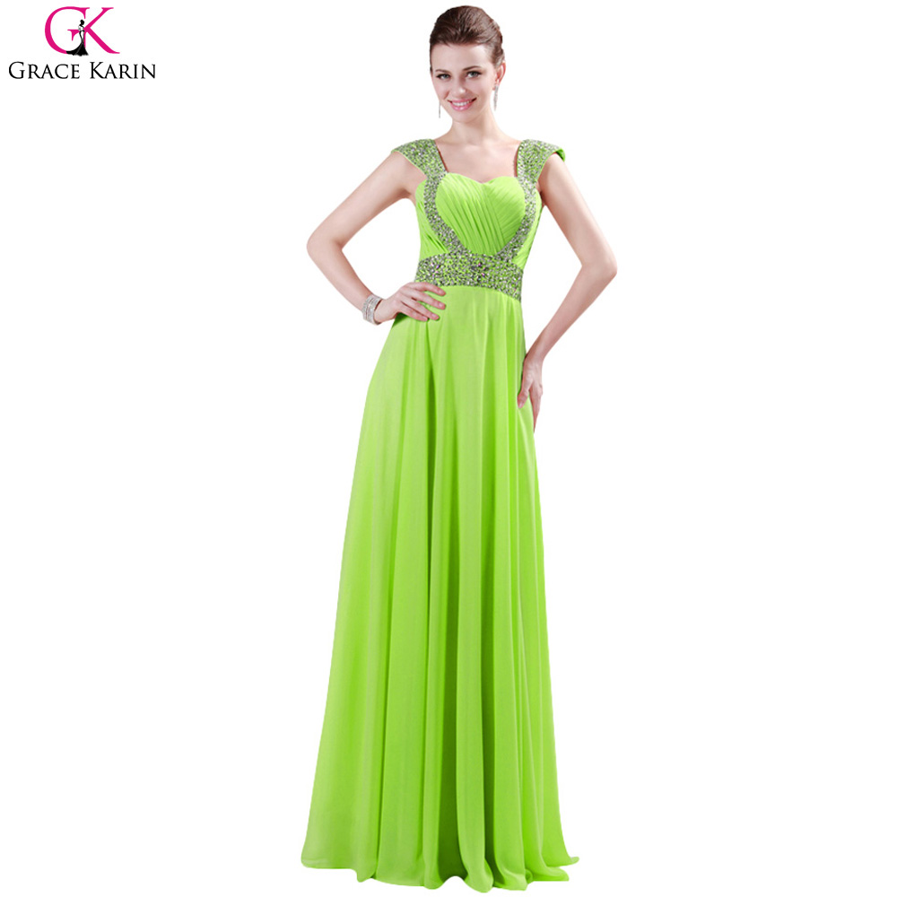 Champagne Prom Dress Grace Karin Chiffon Sequin Green Long Party Dress  Vestido Formal Elegant Gowns Lime - Popular Lime Green Prom-Buy Cheap Lime Green Prom Lots From China