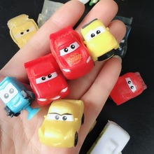 купить Random 50pcs Cute Cartoon Anime Suction cup Soft Cars Action Figure Capsule Machine Red Yellow Blue Emoji car toy gift дешево
