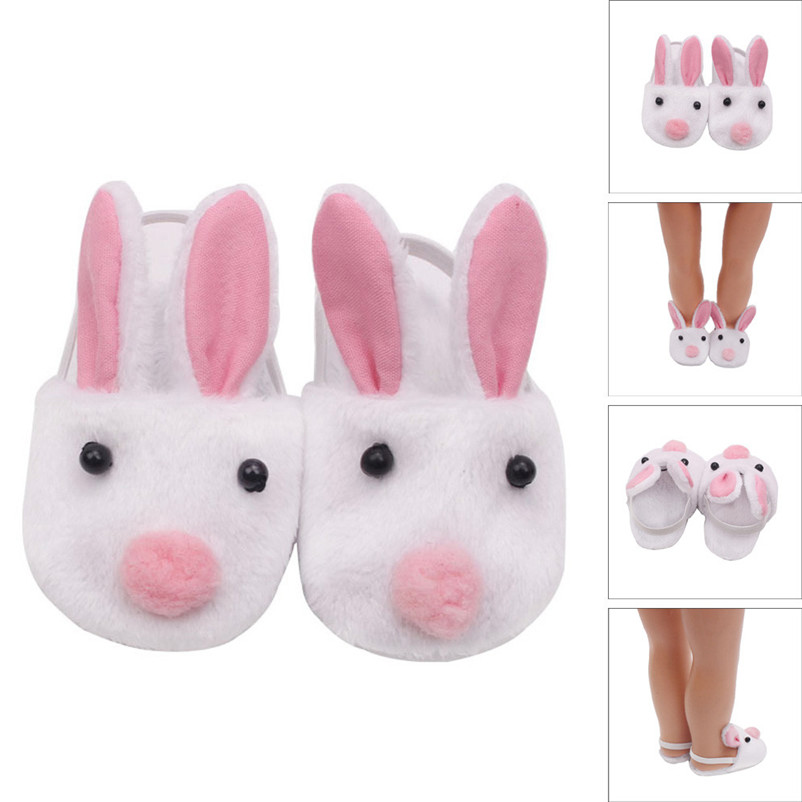 2018 Lovely Plush Rabbit Slipper Shoes For 18 inch Our Generation American Girl Doll Dropshipping Wholesaling retailing P3