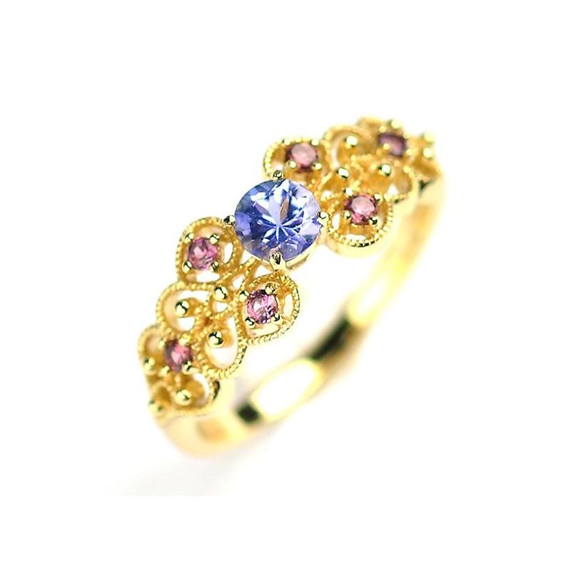 Ruifan Palace classique couleur or en argent Sterling 925 bague pour femmes papillon bijoux de luxe Tanzanite et grenat anneaux YRI080