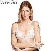 Wink Gal Triangle Bra Y Shape Bra Caged Halter Cross Back Lace Decoration Lingerie 10153