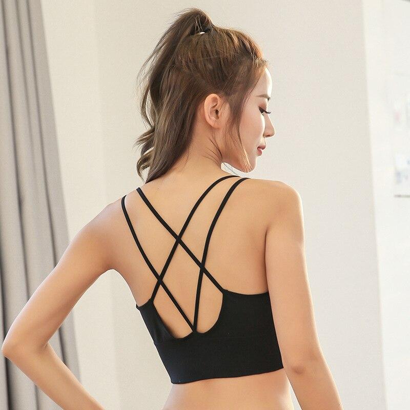 Sexy Cross Straps Gym Sports Bra Women Wireless Seamless