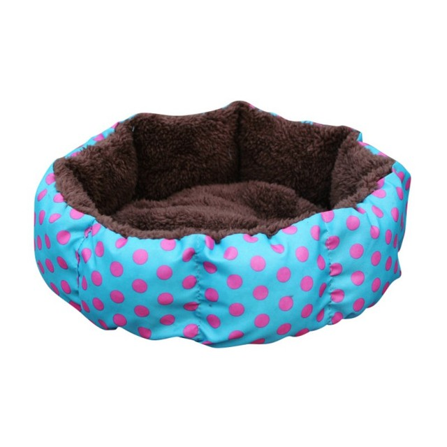Cute Dogs Beds Leopard Colorful Print Pet Cats Warm Nest Winter Super Soft Octagonal Nest Beds  2