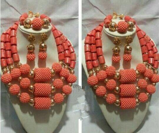 Perles de corail d'origine nigérian mariage bijoux africains ensembles déclaration audacieuse collier ensemble Chunky livraison gratuite CNR693