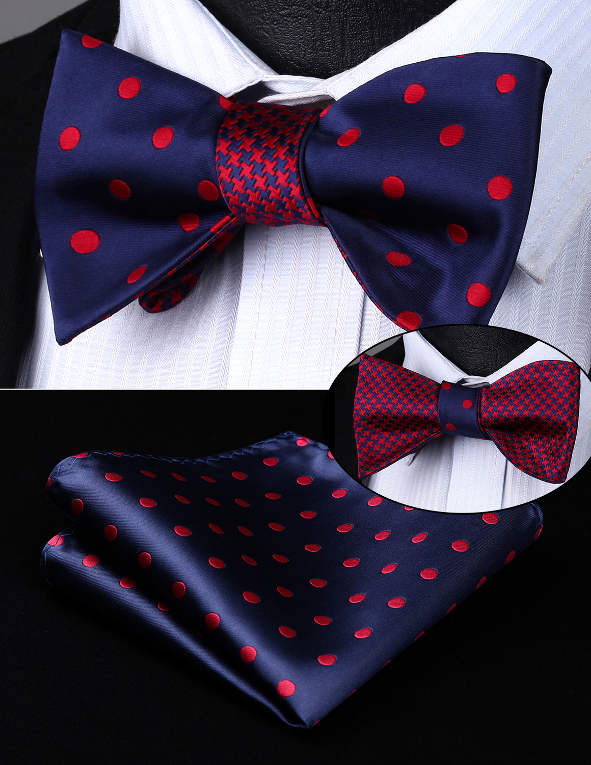 BE04RS Blue Red Dot Geometric Double Side Bowtie Men Silk Self Bow Tie Hanky Set Pocket Square Classic Party Wedding