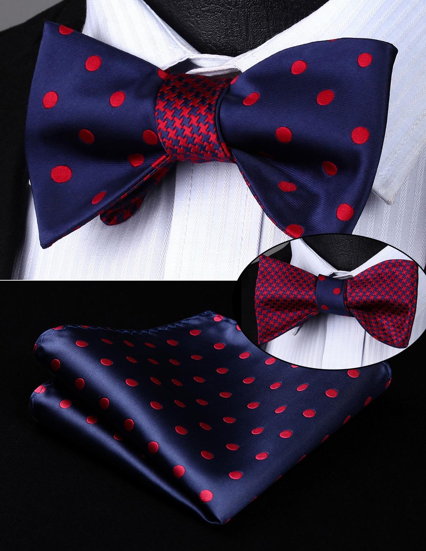 Be04rs Blue Red Dot Geometric Double Side Bowtie Men Silk Self Bow Tie Hanky Set Pocket Square