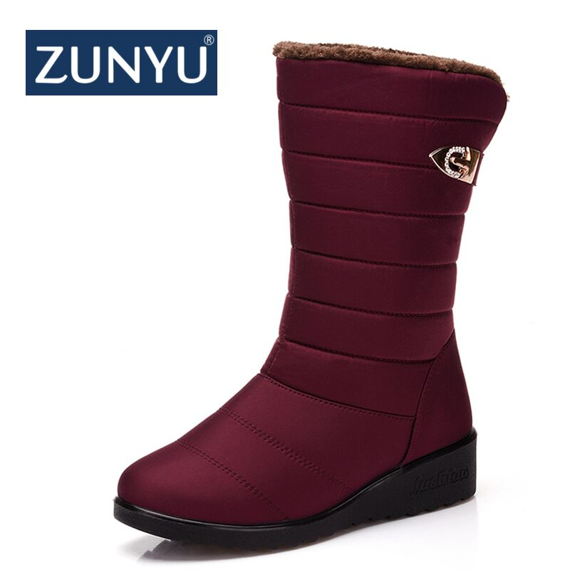 ZUNYU New Women Warm Solid Anti-Slip Snow Boots Waterproof Female Winter Boots Thermal Shoes For Women Thick Fur Cotton Shoes цена