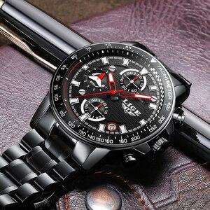 Image 5 - Lige relógio esportivo luxuoso de quartzo, masculino totalmente em aço à prova dágua preto