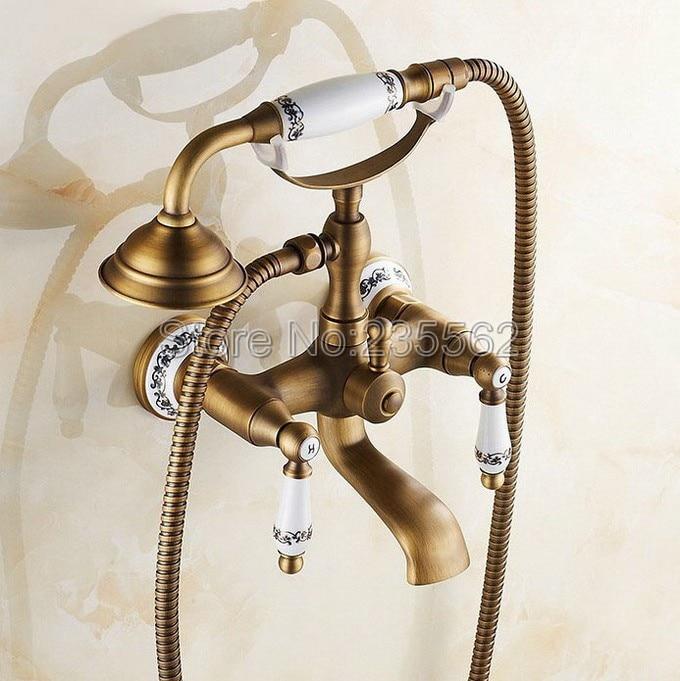Antique Brass Porcelain Base Wall Mounted Bathroom Shower Faucet Dual Handle Bathtub Faucet with Handheld Shower Spray ltf306 bathtub faucet solid brass luxury floor standing bathroom bathtub faucet antique dual handle with handheld shower crane hj 6051