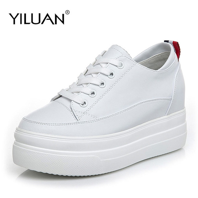 Yiluan Women high heels Breathable Sneakers increased Platform Shoes Casual Footwear Leather White Shoes Women's Vulcanize Shoes