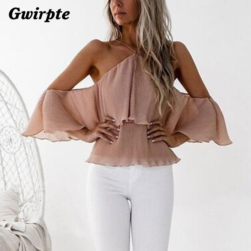 Gwirpte Off Shoulder Lace Up Summer Shirts Lantern Sleeve Women Hollow Out Blouse Sexy Holiday Blusas Ladies Camisa Blusa High Quality And Inexpensive Blouses & Shirts