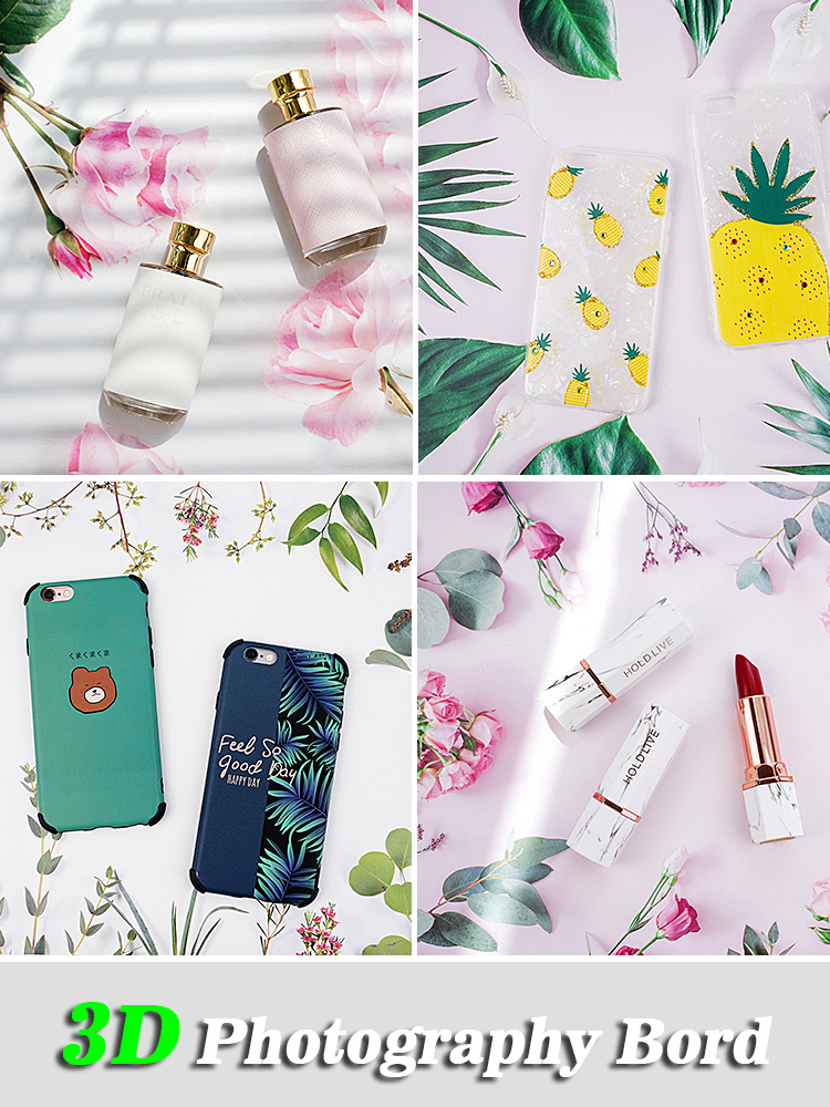 Portable 3D Image Double-sided Photography Board Paper Tabletop Shooting Background Backdrops Adornment Item For Foods Cosmetics