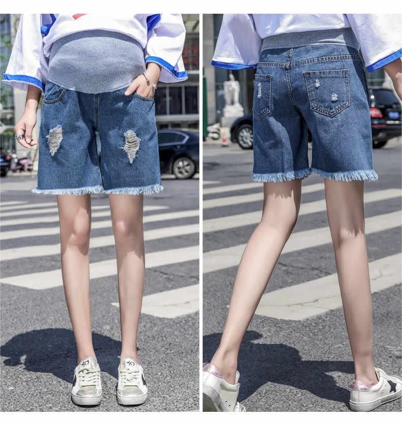 Fdfklak M-3XL Plus rozmiar lato spodnie ciążowe dla kobiet w ciąży niebieskie dżinsy dla kobiet w ciąży wysokiej talii spodenki ciążowe F305