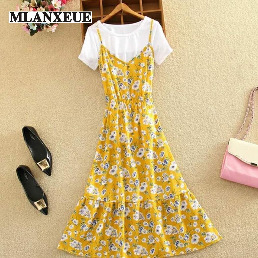A-Line Two Set Ruffle Camis Colorful Beach Dress Elegant Dress Maxi Dress Female Plus Size Pleated Flower Straight Dress Women