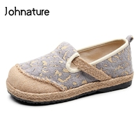Johnature 2019 New Spring/autumn Handmade Retro Round Toe Leopard Shallow Cloth Slip On Shoes For Women Linen Cotton Shoes Flat